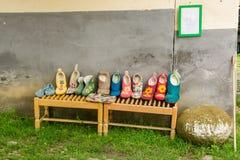 Felt handmade slippers Stock Photos