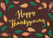 Felt Happy Thanksgiving. With fall leaf background stock photos