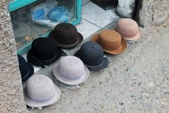 Felt hats on display on the street in Cuenca, Ecuador Royalty Free Stock Photos