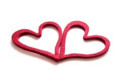 Felt Heart. Un cuore di feltro usato come cupcake stock photos