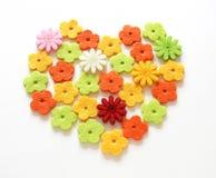 Felt heart. Valentine heart made with felt flowers Royalty Free Stock Photography