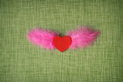 Felt heart and dyed bird feathers on fabric background Royalty Free Stock Photos