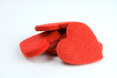 Felt heart stack. Six red felt hearts in a stack royalty free stock photography