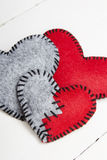 Felt heart Stock Photo