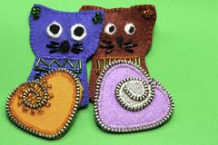 Felt hearts and cats, Valentine`s Day stock image