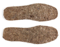 Felt insoles on white background Stock Photos