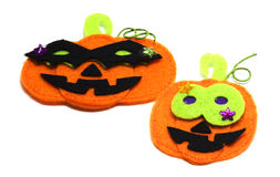 Felt Jack o' lantern stickers for Halloween Royalty Free Stock Images