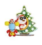 Felt  monkeys and Christmas tree Royalty Free Stock Photo