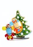 Felt  monkeys and Christmas tree. Обезьяны из фетра на елке. Royalty Free Stock Images