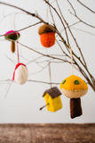 Felt Ornaments. Cute nature themed felt ornaments hanging from a tree branch Stock Photos