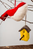 Felt Ornaments. Cute nature themed felt ornaments hanging from a tree branch Stock Images