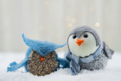 Felt Owl and Bird in Snow Royalty Free Stock Photo