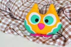 Felt owl. Cute felt owl toy Royalty Free Stock Photos