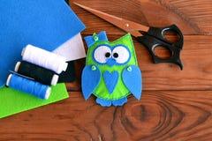 Felt owl pattern, bird toy play, owl ornaments, sewing plush toy. Hand fabric diy. Felt animal gift Royalty Free Stock Photography