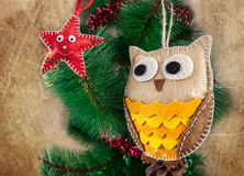 Felt owl and star toys Royalty Free Stock Images