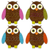 Felt Owls Set Stock Images
