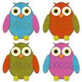 Felt Owls Set Royalty Free Stock Photos