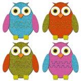 Felt Owls Set. Cute felt stitched owl set Vector Illustration