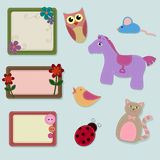 Felt patches. Collection of felt animals and frames Royalty Free Stock Photos