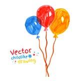 Felt pen childlike drawing of balloons.  Royalty Free Stock Photo