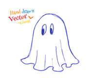 Felt pen childlike drawing of cute ghost Royalty Free Stock Photos