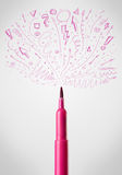 Felt pen close-up with sketchy arrows Stock Images