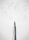 Felt pen close-up with sketchy arrows. And lines Royalty Free Stock Photo