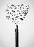 Felt pen close-up with social media icons Royalty Free Stock Photos