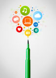 Felt pen close-up with social network icons Royalty Free Stock Photo