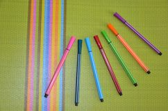 Felt pen, color, green table stock image