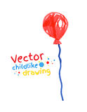 Felt pen drawing of balloon. Vector felt pen childlike drawing of balloon Stock Images