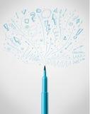 Felt pen drawing sketchy arrows. Blue felt pen drawing sketchy arrows Stock Photography