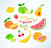 Felt pen drawings of fruit Stock Image
