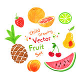 Felt pen fruit Stock Photos