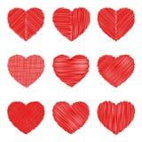 Crosshatching Valentines Set Royalty Free Stock Images