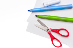 Felt pen and scissors Stock Image