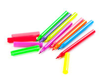 Felt pens. On white background Royalty Free Stock Photo