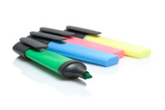 Felt pens. Four colour felt pens isolated over white with mirrors Stock Image