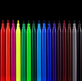 Felt pens. On black background royalty free stock image