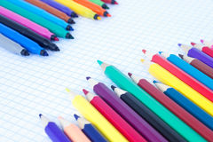 The felt pens and pencils placed diagonally Royalty Free Stock Image