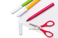 Felt pens and scissors Royalty Free Stock Photos