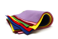 Felt. Pieces of the multicolored felt isolated royalty free stock images