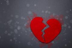 Felt red broken heart Stock Photo