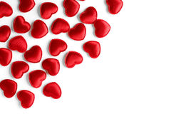 Felt red hearts isolated on a white background Stock Photography