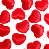 Felt red hearts isolated on a white background Stock Images