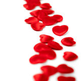 Felt red hearts isolated on a white background Royalty Free Stock Photography