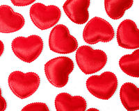 Felt red hearts isolated on a white background Stock Photo