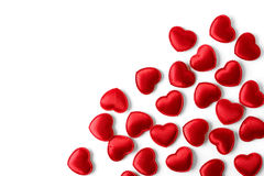 Felt red hearts  on a white background Stock Photo