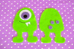 Felt sewing monster toy. Step. Lesson sewing Stock Photography