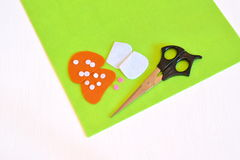 Felt sheets, felt details. Sewing set for the felt mushroom. Tutorial Royalty Free Stock Photography